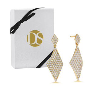 """All that Glam"" 3.5ctw Pave Double Diamond Drop Earrings"