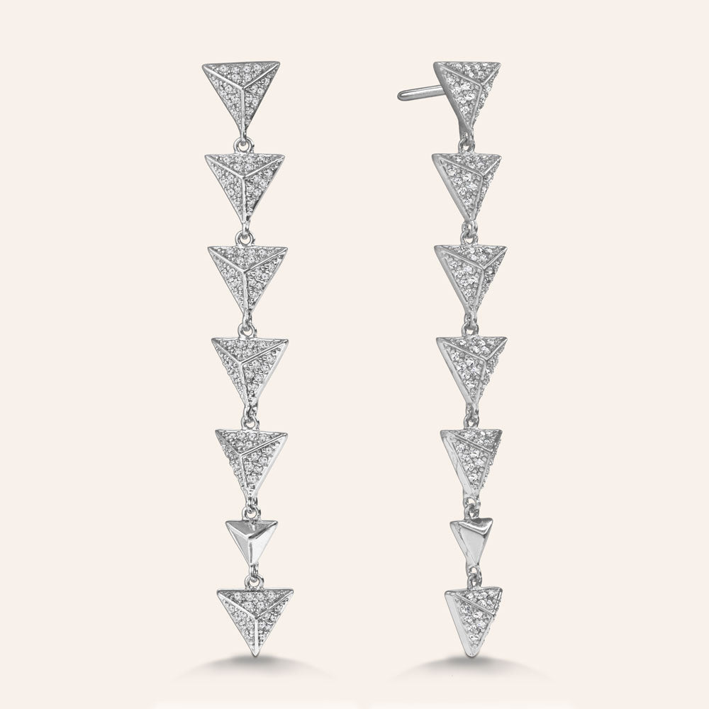 """Radiant Spikes"" 2.2ctw Pave Linear Triangles Drop Earrings"