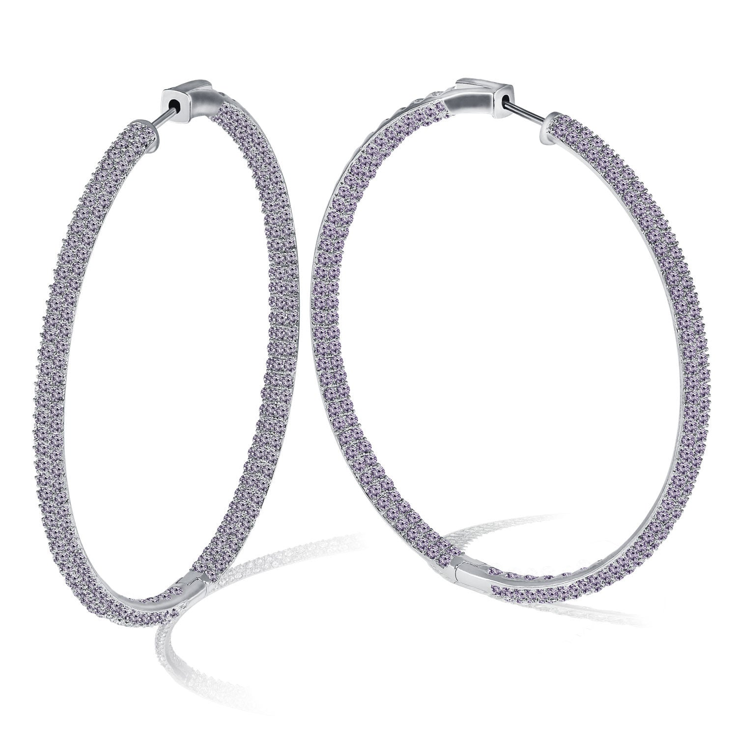 """The Grand"" 18K Gold PLated Pave Crystal Inside-outside Hoop Earrings More Colors"