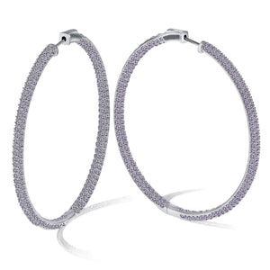"""The Grand"" Silver Plated Pave Crystal Inside-outside Hoop Earrings"