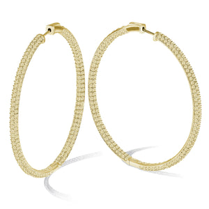 """The Grand"" 18K Gold PLated Pave Crystal Inside-outside Hoop Earrings"