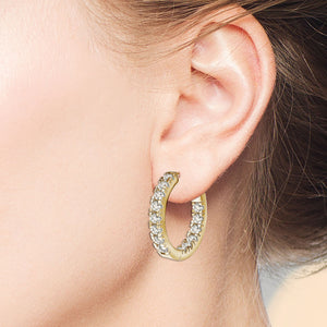 """1 Row Petite"" 1.4ctw  Inside-outside Hoop Earrings"