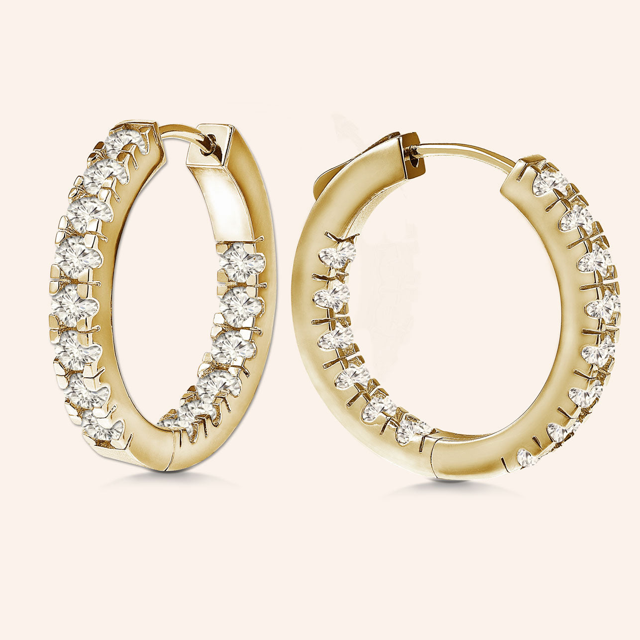 """1 Row Petite"" 1.4ctw  Inside-outside Hoop Earrings More Colors"