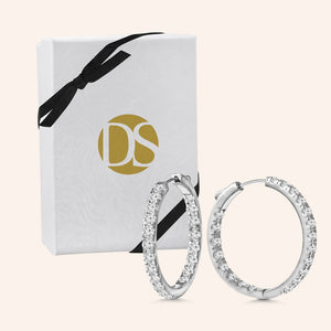 """1 Row Medium"" 2.0ctw  Inside-outside Hoop Earrings"