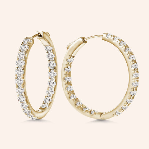 """1 Row Grand"" 1.1ctw  Inside-outside Hoop Earrings More Colors"