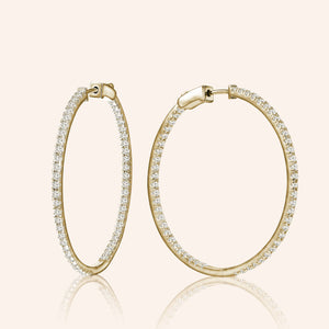 """1 Row Grand"" 1.1ctw  Inside-outside Hoop Earrings"