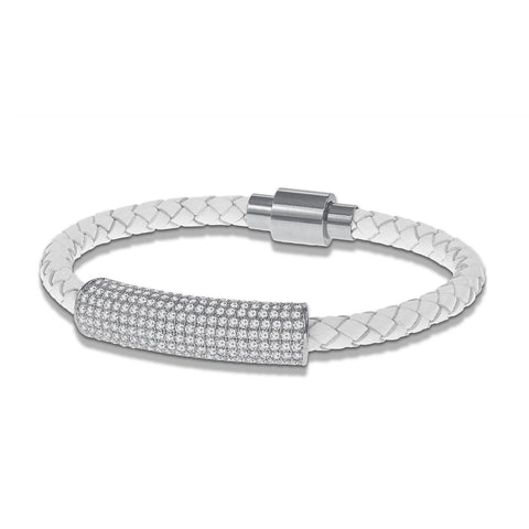 """Icon Forever"" Woven Genuine Leather Bracelet - Silver - White"