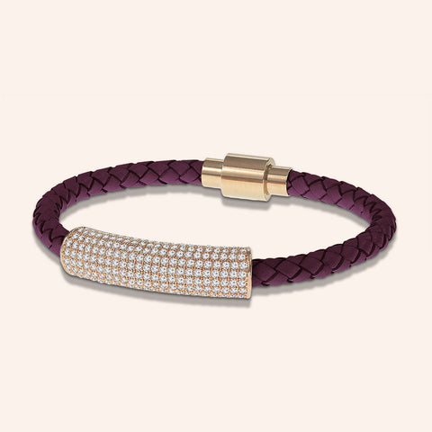 """Icon Forever"" Pave Crystals Woven Genuine Leather Bracelet More Colors"