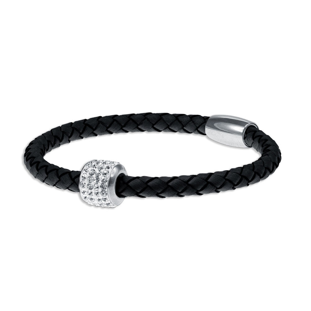 """Every day Icon"" Shiny Crystals Woven Genuine Leather Bracelet  MORE COLORS"