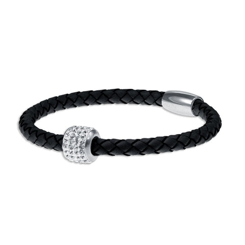 """Icon Forever"" Woven Genuine Leather Bracelet - Silver - Fuscia"