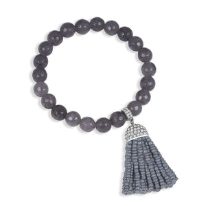 """Show that Tassel"" Pave Crystals Semi-Precious Beaded Stretch Bracelet  Silver Tone"