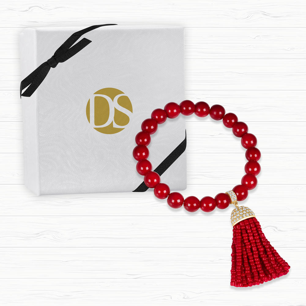 """Show that Tassel"" Pave Crystals Semi-Precious Beaded Stretch Bracelet  Gold Tone"