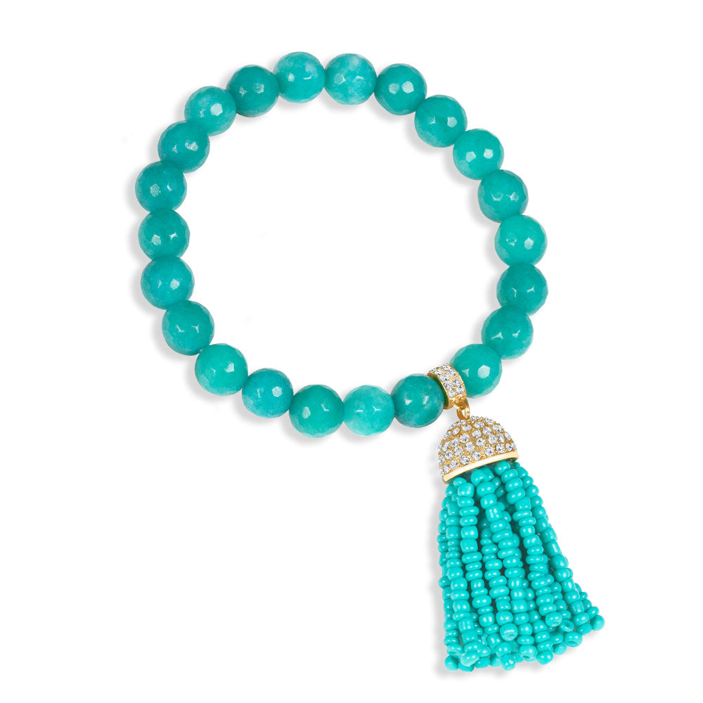 """Show that Tassel"" Pave Crystals Semi-Precious Beaded Stretch Bracelet"