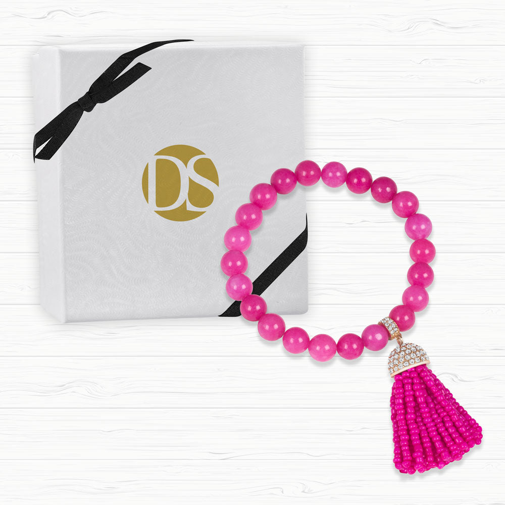 """Show that Tassel"" Pave Crystals Semi-Precious Beaded Stretch Bracelet  Gold tone/Pink Agate"