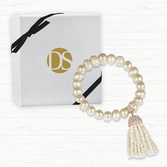 """Show that Tassel"" Pave Crystals Semi-Precious Beaded Stretch Bracelet Rose Tone"