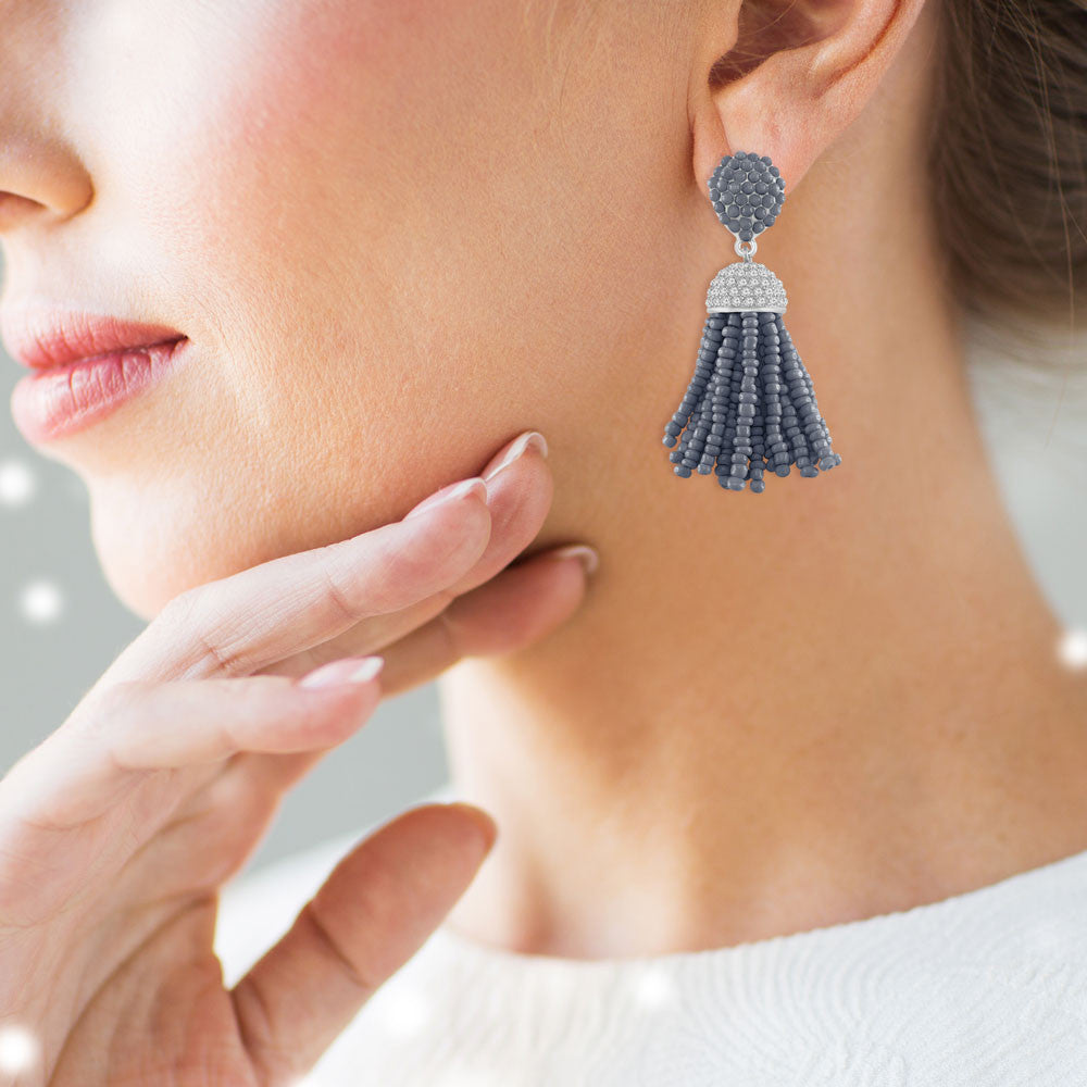 """The Petite Tassel"" Pave Crystals & Seed Beads Drop Earrings   SILVER TONE"
