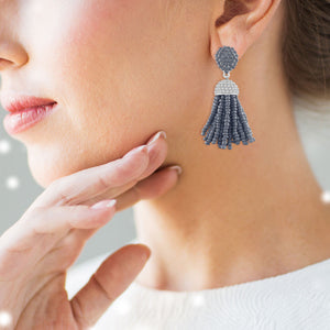 """The Petite Tassel"" Pave Crystals & Seed Beads Drop Earrings"