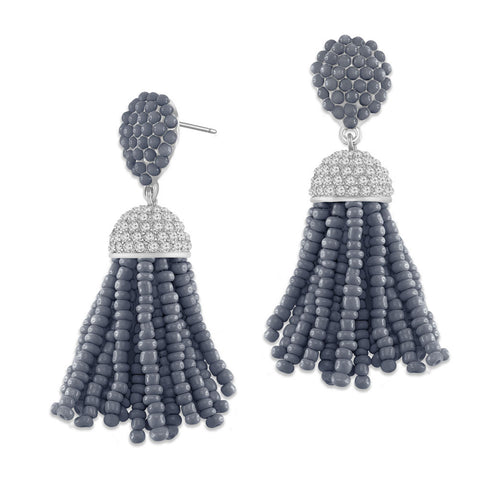 """The Petite Tassel"" Pave Crystals & Seed Beads Drop Earrings   SILVER TONE/GREY"