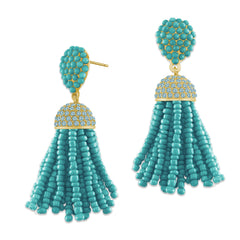 """The Petite Tassel"" Pave Crystals & Seed Beads Drop Earrings  GOLD TONE"
