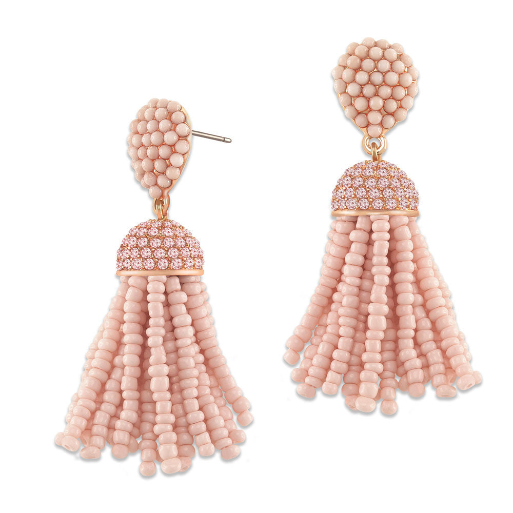 """The Petite Tassel"" Pave Crystals & Seed Beads Drop Earrings  ROSE TONE"