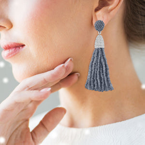 """Time to Tassel"" Pave Crystals & Seed Beads Drop Earrings"
