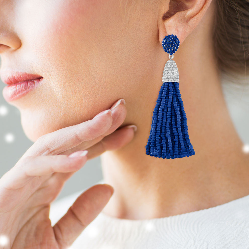 """Time to Tassel"" Pave Crystals & Seed Beads Drop Earrings  SILVER TONE/BLUE"