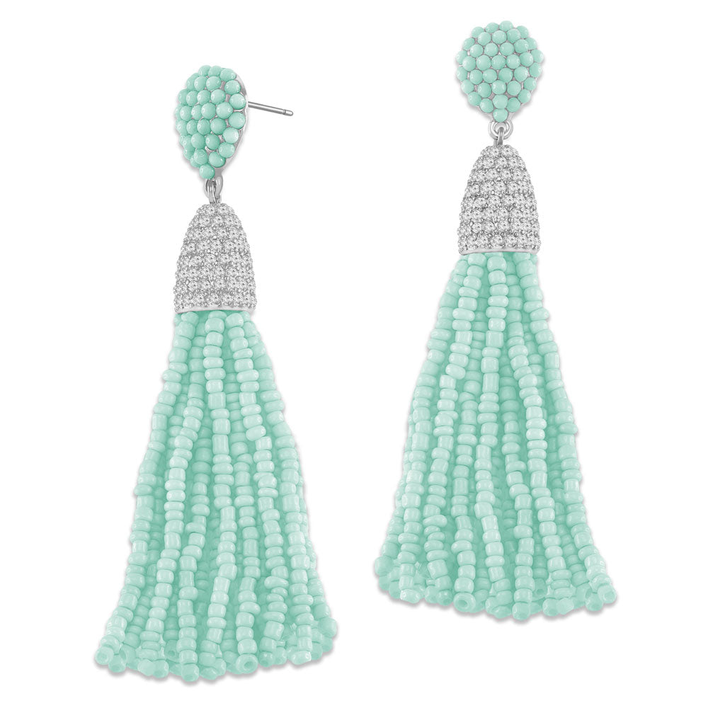 """Time to Tassel"" Pave Crystals & Seed Beads Drop Earrings  SILVER TONE"