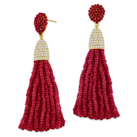"""Time to Tassel"" Pave Crystals & Seed Beads Drop Earrings  GOLD TONE/RED"