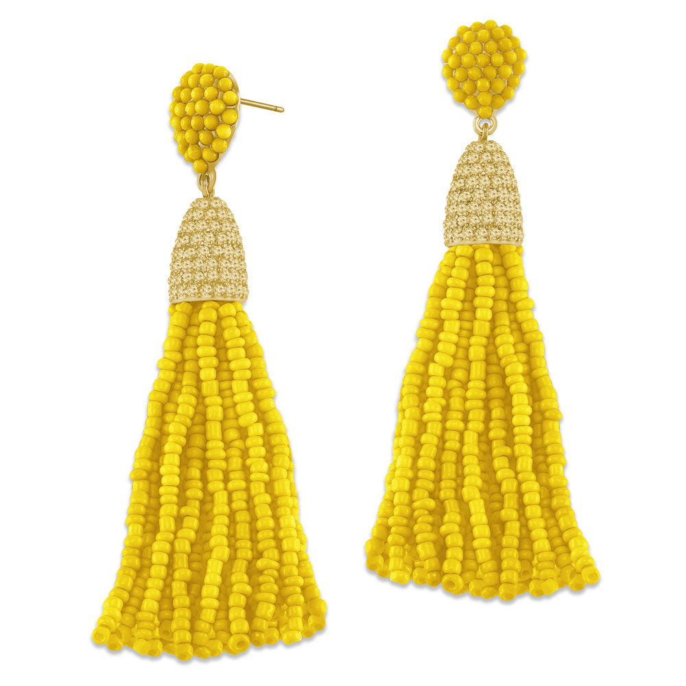 """Time to Tassel"" Pave Crystals & Seed Beads Drop Earrings   GOLD TONE/BLACK"