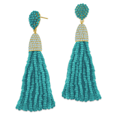 """Time to Tassel"" Pave Crystals & Seed Beads Drop Earrings   GOLD TONE/TURQUOISE"