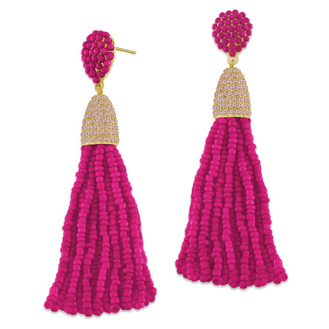 """Time to Tassel"" Pave Crystals & Seed Beads Drop Earrings   GOLD TONE/PINK"