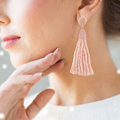 """Time to Tassel"" Pave Crystals & Seed Beads Drop Earrings  ROSE TONE"