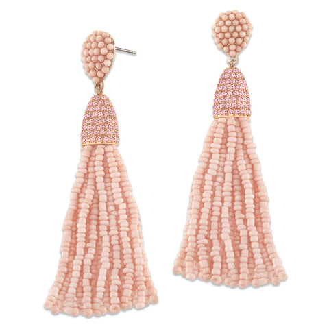 """Time to Tassel"" Pave Crystals & Seed Beads Drop Earrings  ROSE TONE/ROSE"