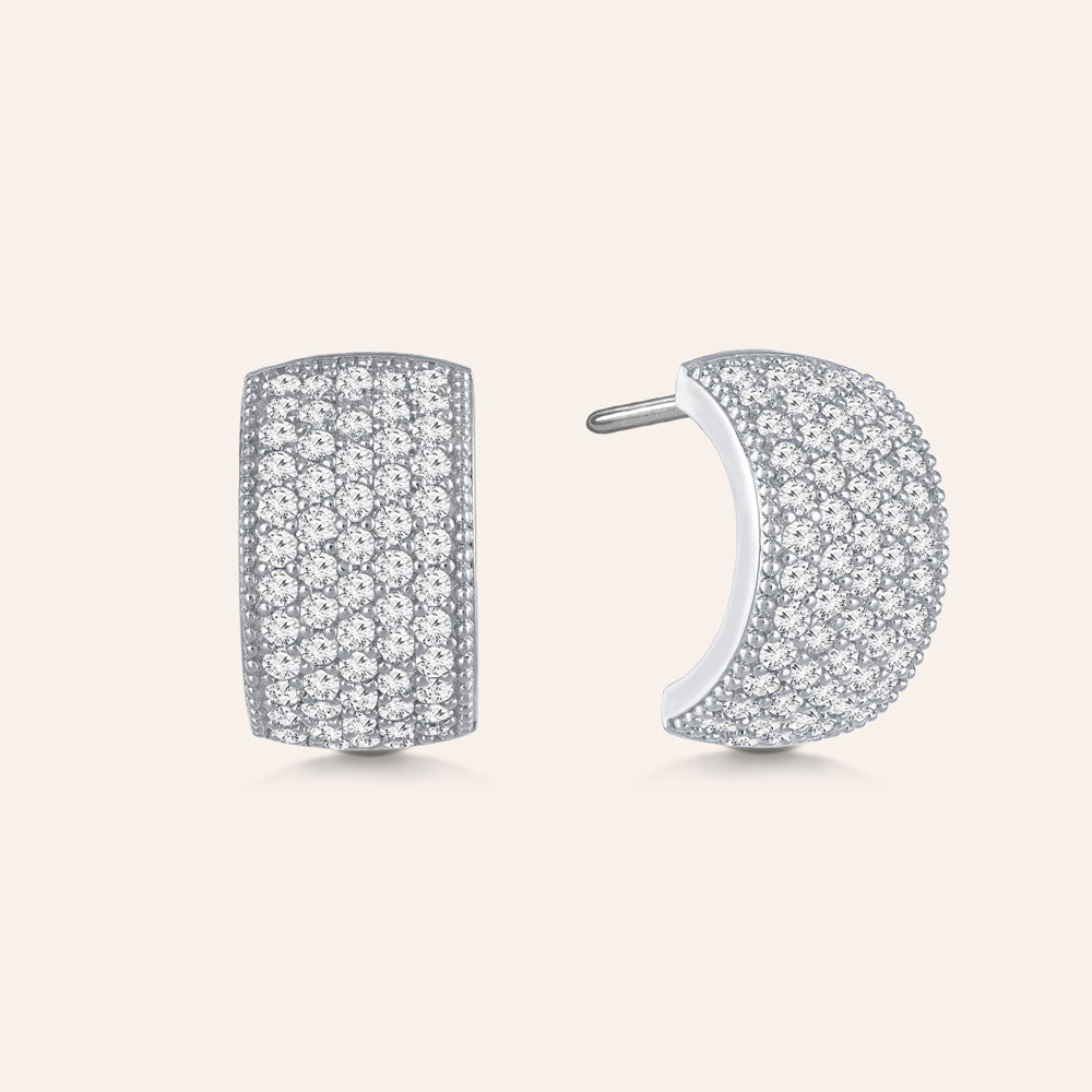 """Shimmering Touch"" 2.6ctw Pave Hoop Earrings - Silver tone"
