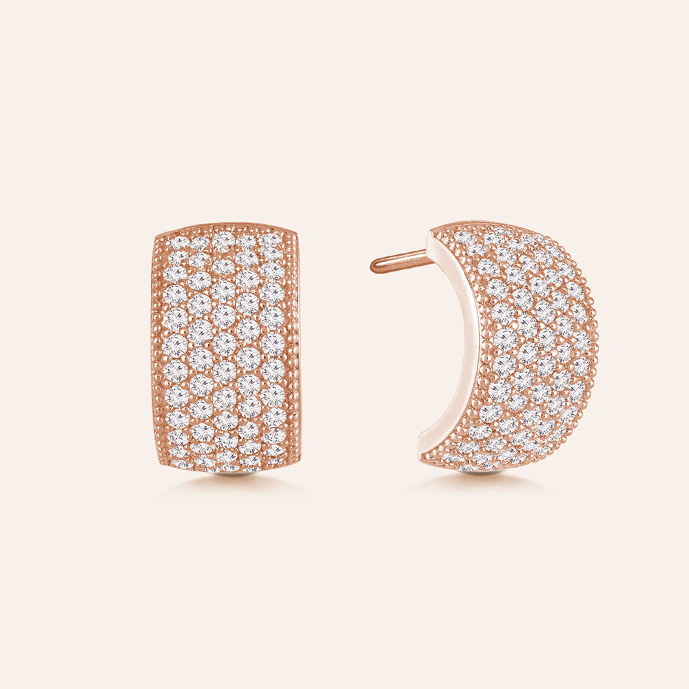 """Shimmering Touch"" 2.6ctw Pave Hoop Earrings"
