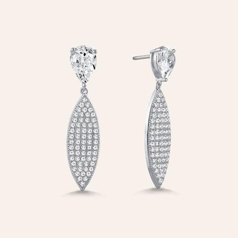 """Elegant Affair"" 4.6ctw Pear Post Pave Navette Drop Earrings - Silver tone"