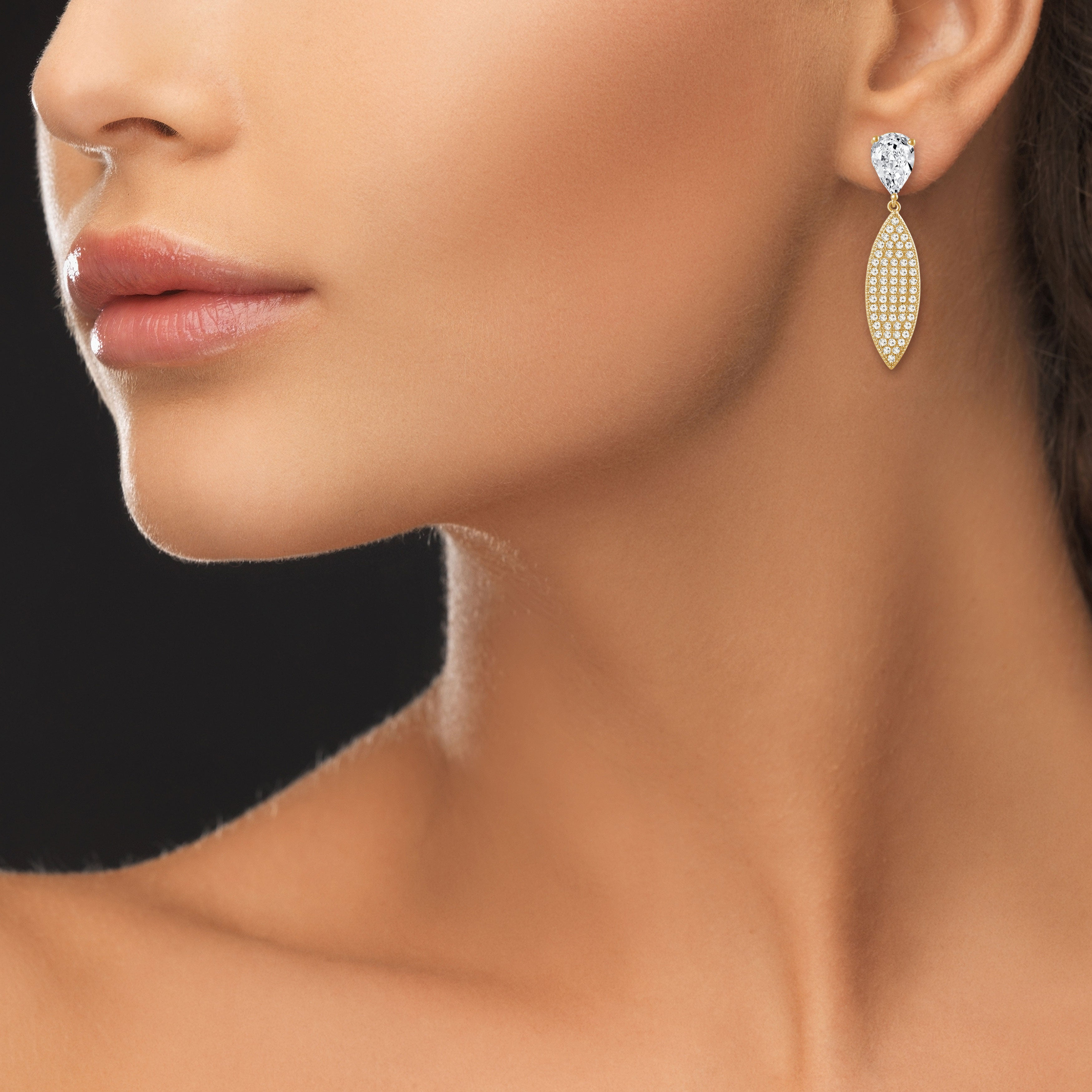 """Elegant Affair"" 4.6ctw Pear Post Pave Navette Drop Earrings - Gold tone"