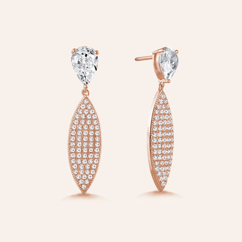 """Elegant Affair"" 4.6ctw Pear Post Pave Navette Drop Earrings - Rose tone"