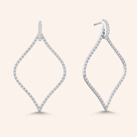 """Enchanted Royalty"" 1.6ctw Micro-Pave Open Marquise Earrings - Silver tone"