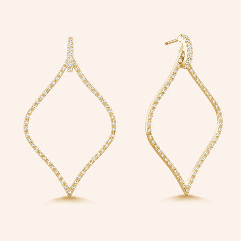 """Enchanted Royalty"" 1.6ctw Micro-Pave Open Marquise Earrings - Gold tone"