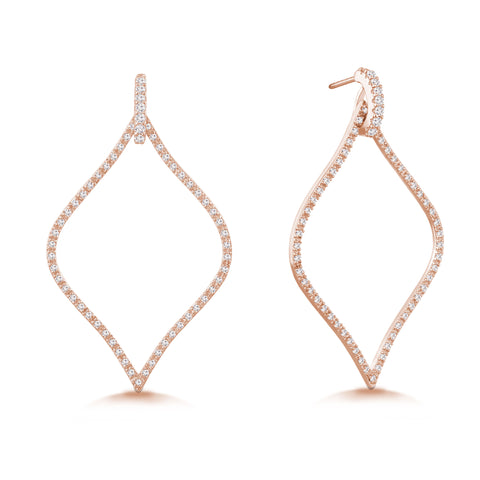 """Enchanted Royalty"" 1.6ctw Micro-Pave Open Marquise Earrings - Rose tone"