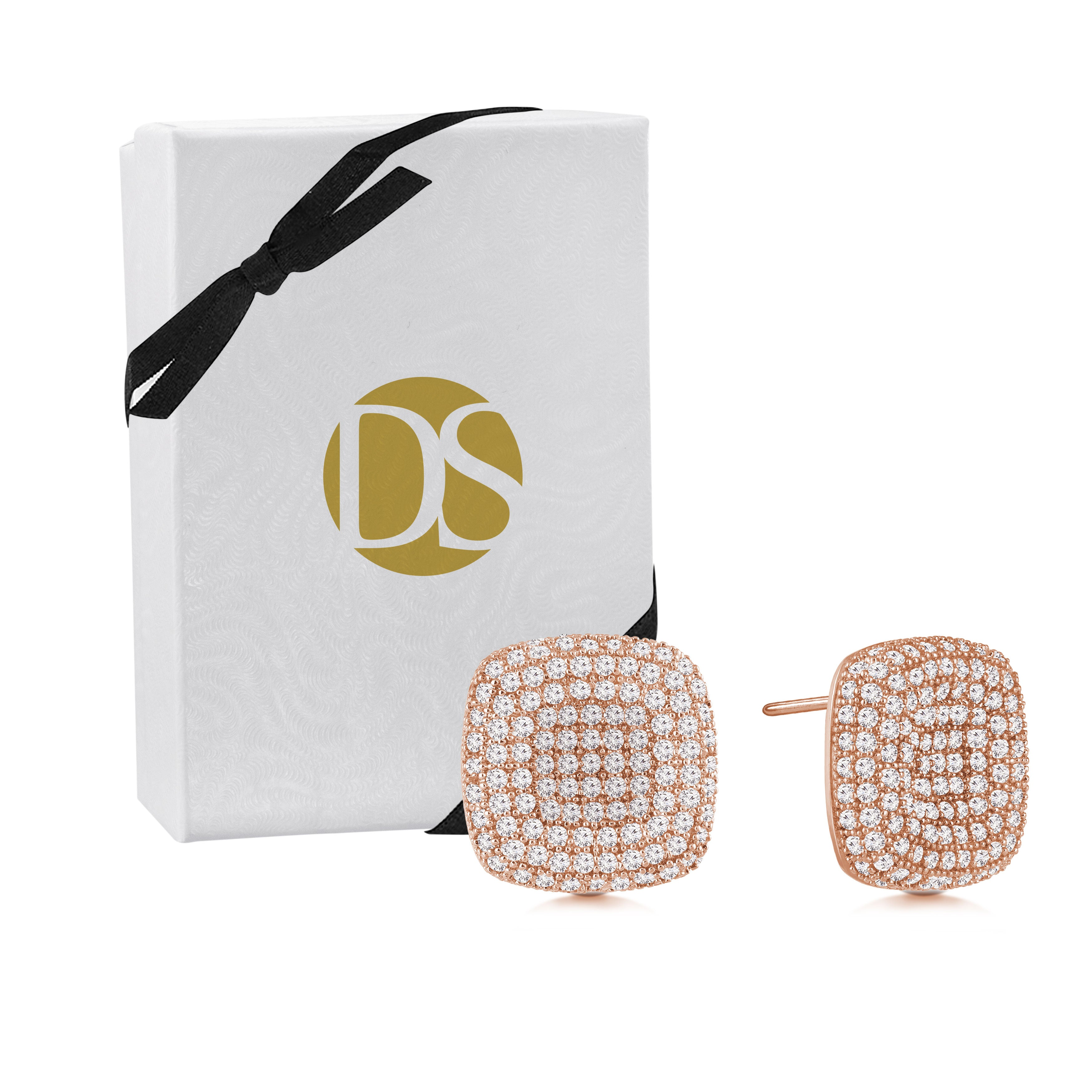 """Uptown Girl"" 2.8ctw Micro-Pave Indented Square Post Earrings - Rose tone"