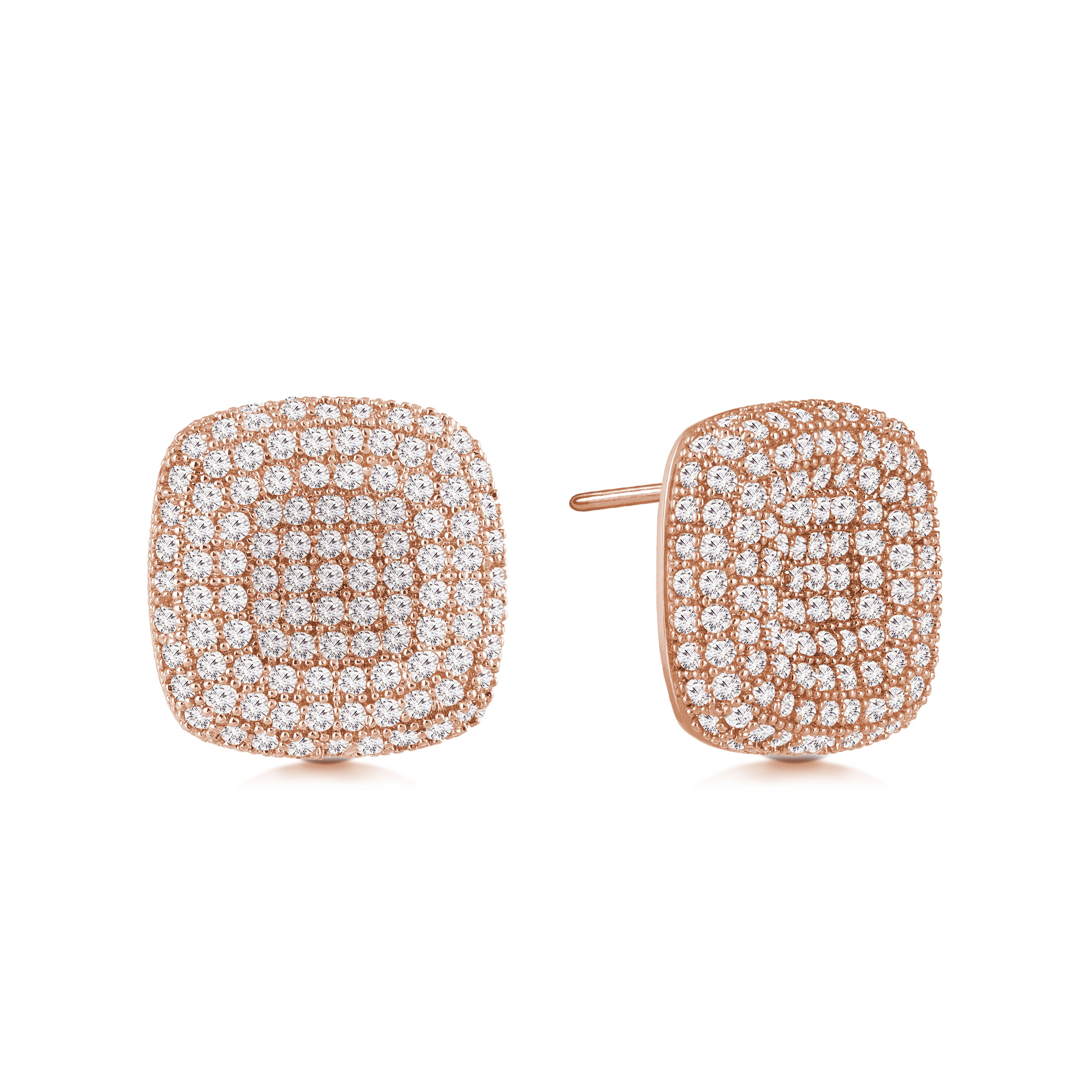 """Uptown Girl"" 2.8ctw Micro-Pave Indented Square Post Earrings"