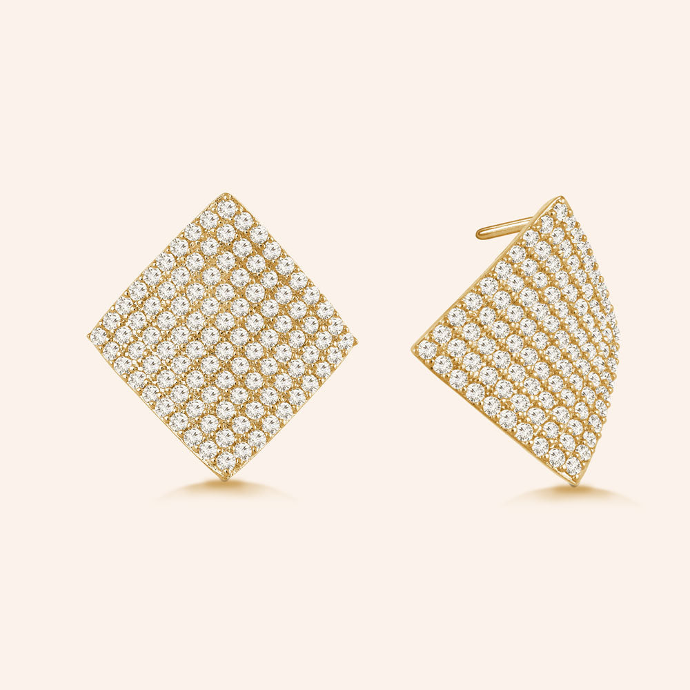 """Glitz and Glam""  4.6ctw Pave Concave Diamond Shape Post Earrings - Gold tone"