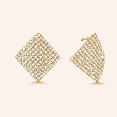 """Glitz and Glam""  4.6ctw Pave Concave Diamond Shape Post Earrings"
