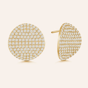 """Aspen Elegance"" 5.56ctw Pave Domed Circle Shape Post Earrings"