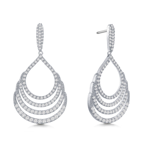 """Heartstrings"" 4.7ctw Pave Open Drop Dangling Earrings - Silver tone"