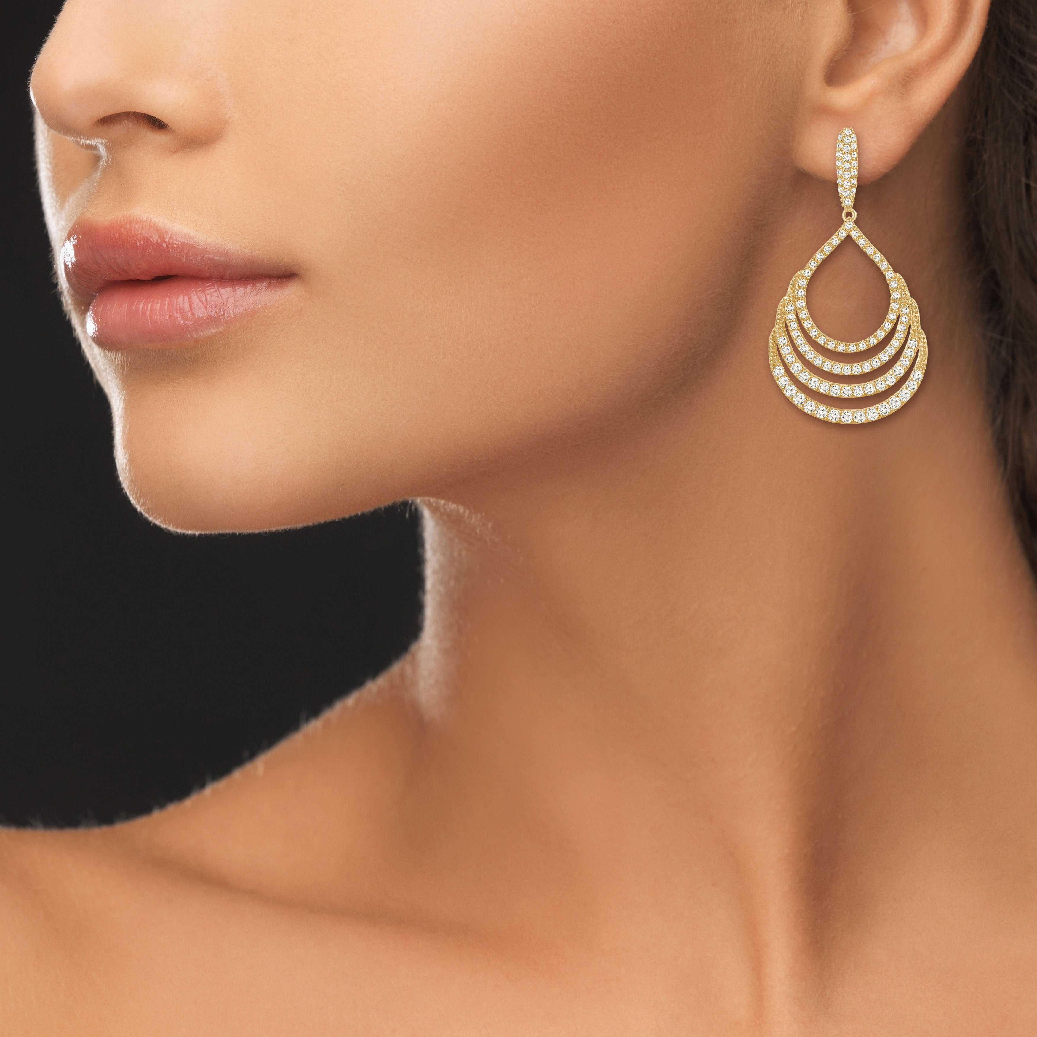"""Heartstrings"" 4.7ctw Pave Open Drop Dangling Earrings - Gold tone"