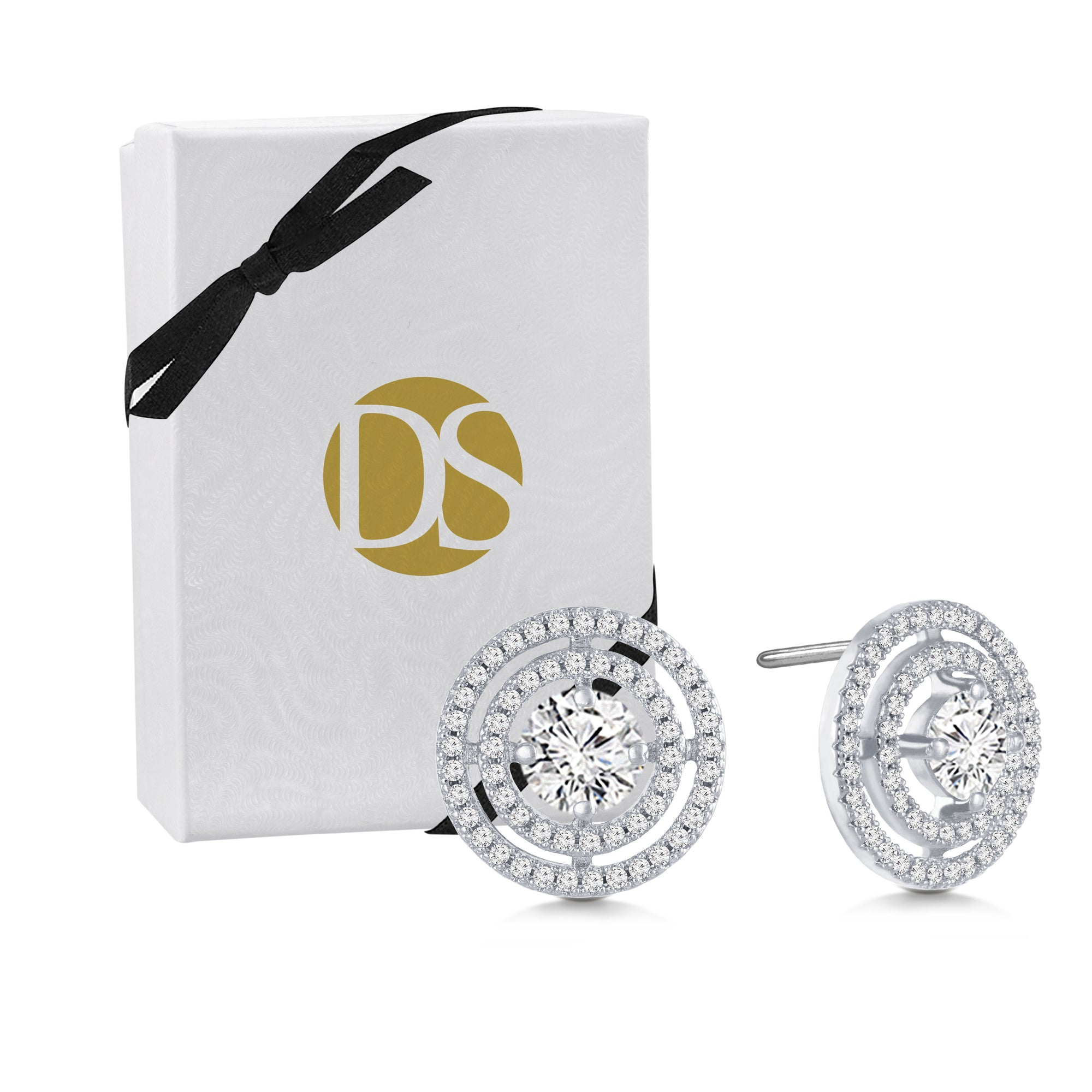 """Circled in Diamonds"" 2.7ctw Pave Open Circles Post Earrings"