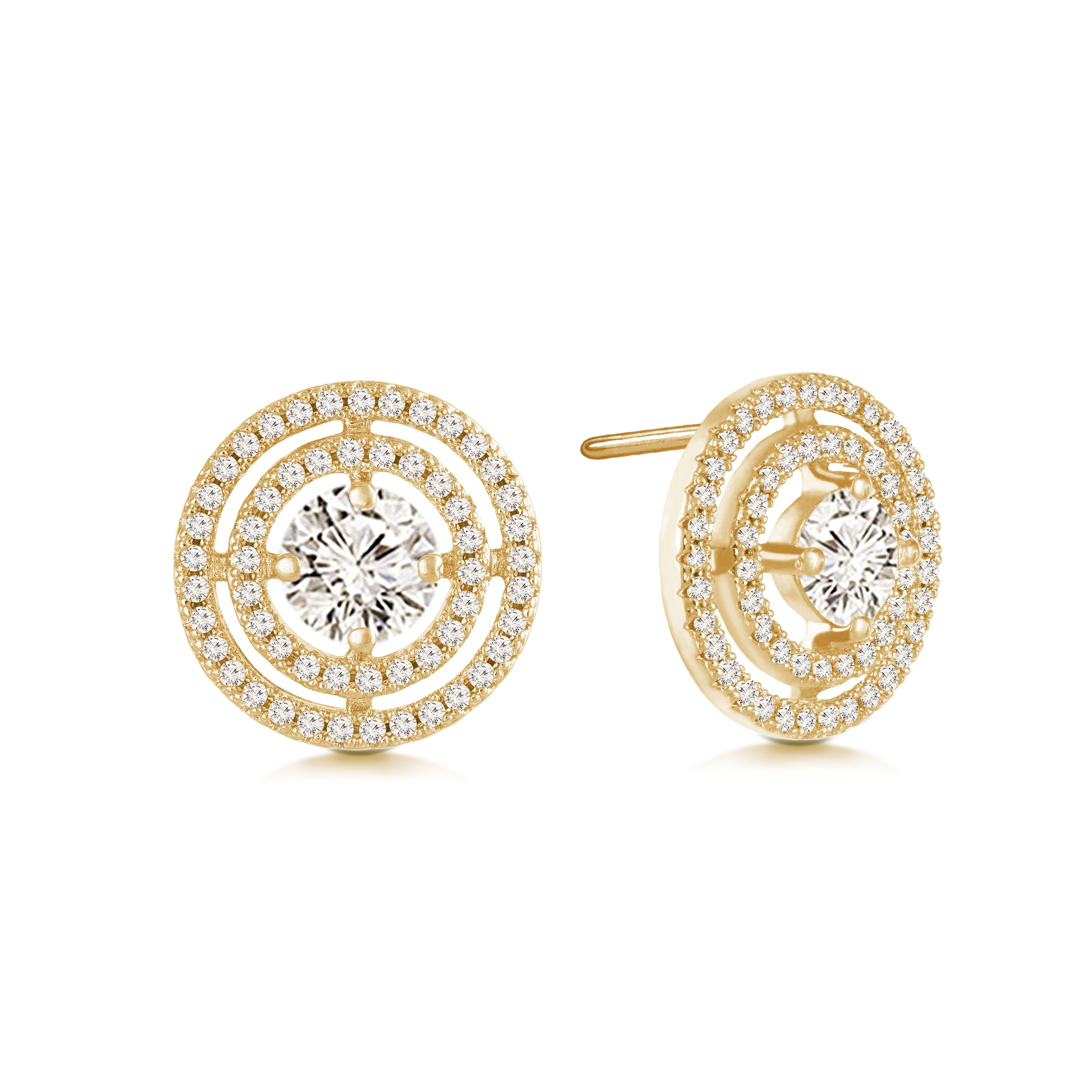 """Circled in Diamonds"" 2.7ctw Pave Open Circles Post Earrings - Gold tone"